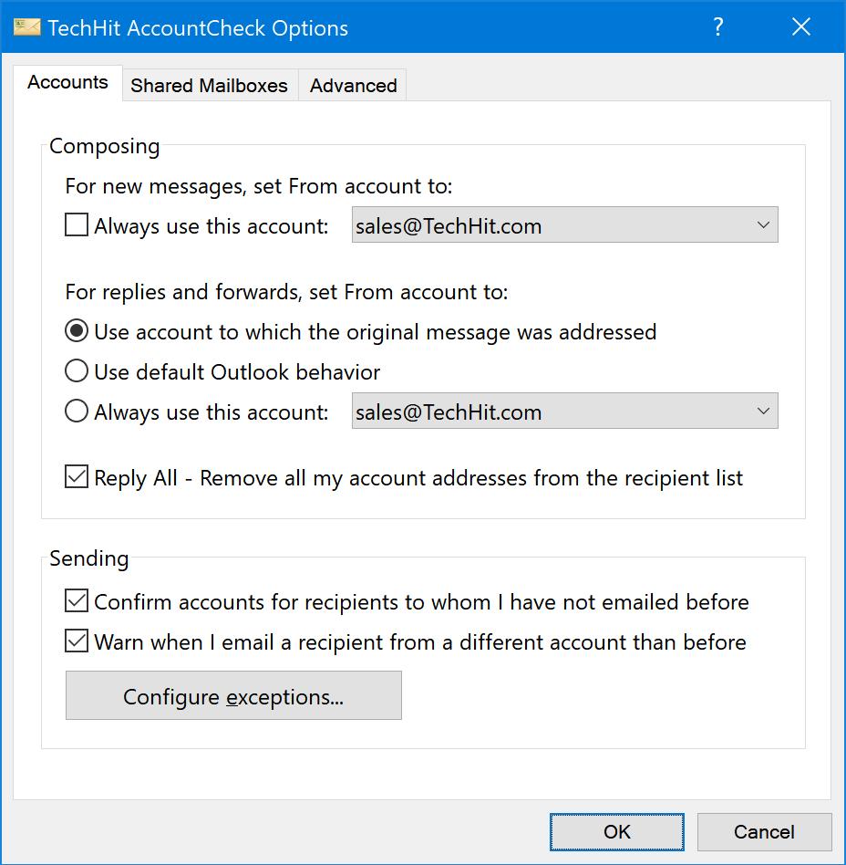 Options Window — AccountCheck User Guide