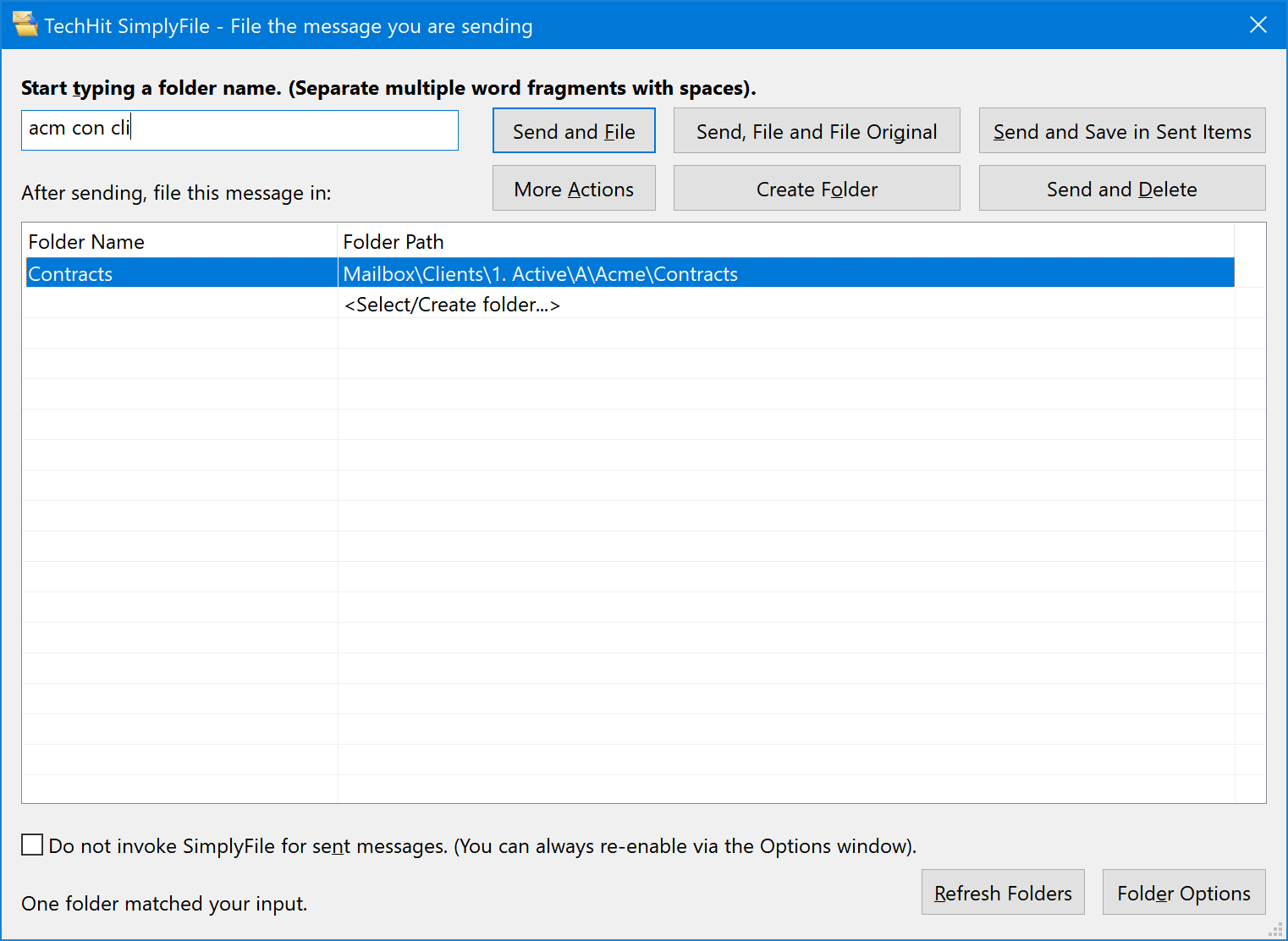 Filing Outlook Sent Email Messages — SimplyFile Documentation