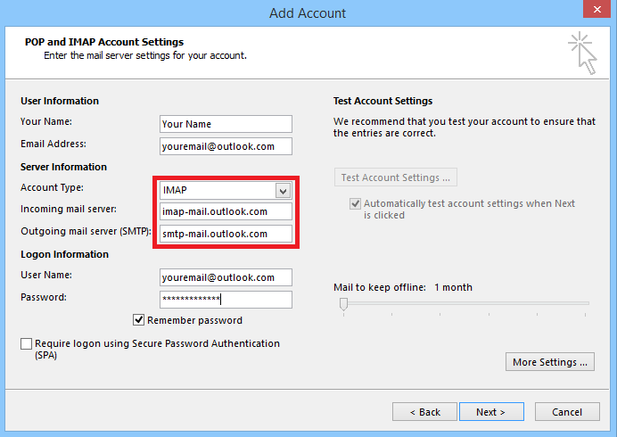How to configure Outlook to use IMAP with an Outlook com account