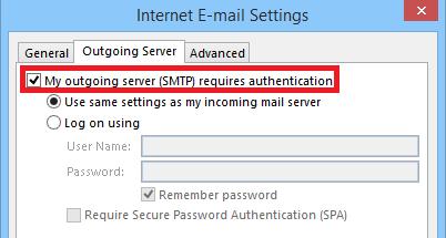 Outgoing Server Authentication