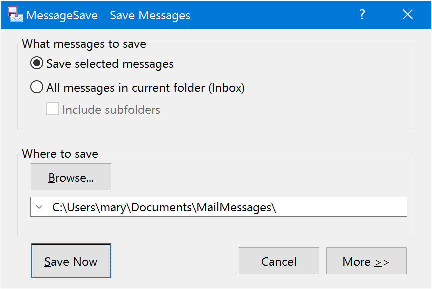 Saving Outlook Messages — MessageSave Documentation